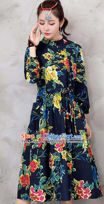 Traditional Chinese National Costume, Elegant Hanfu Northeast Big Flower Navy Dress, China Tang Suit Cheongsam Upper Outer Garment Elegant Dress Clothing for Women