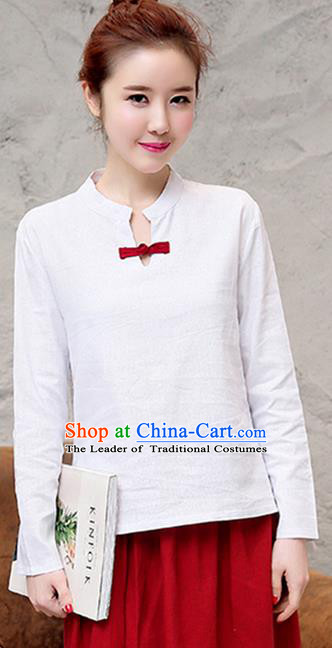 Traditional Chinese National Costume, Elegant Hanfu Stand Collar White T-Shirt, China Tang Suit Republic of China Plated Buttons Chirpaur Blouse Cheong-sam Upper Outer Garment Qipao Shirts Clothing for Women