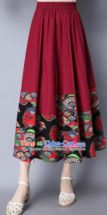 Traditional Ancient Chinese National Pleated Skirt Costume, Elegant Hanfu Folk Dance Long Red Dress, China Tang Suit Bust Skirt for Women
