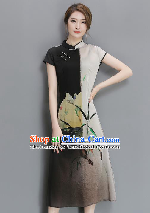 Traditional Ancient Chinese National Costume, Elegant Hanfu Mandarin Qipao Multicolor Cheongsam Dress, China Tang Suit Upper Outer Garment Elegant Dress Clothing for Women