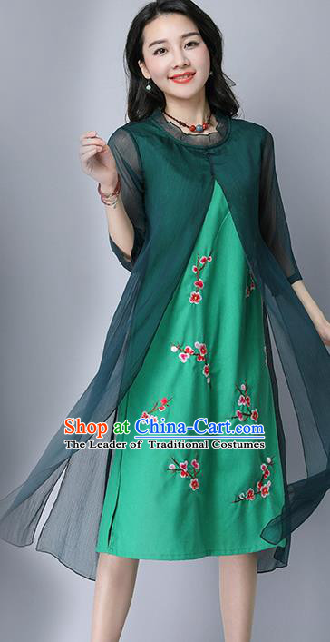 Traditional Ancient Chinese National Costume, Elegant Hanfu Mandarin Qipao Plated Buttons Cheongsam Print Peach Blossom Green Dress, China Tang Suit Upper Outer Garment Elegant Dress Clothing for Women