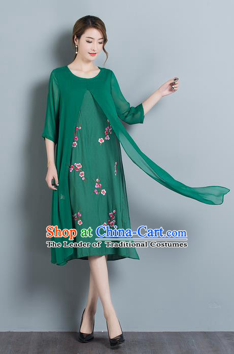 Traditional Ancient Chinese National Costume, Elegant Hanfu Mandarin Qipao Embroidered Peach Blossom Green Dress, China Tang Suit Cheongsam Upper Outer Garment Elegant Dress Clothing for Women