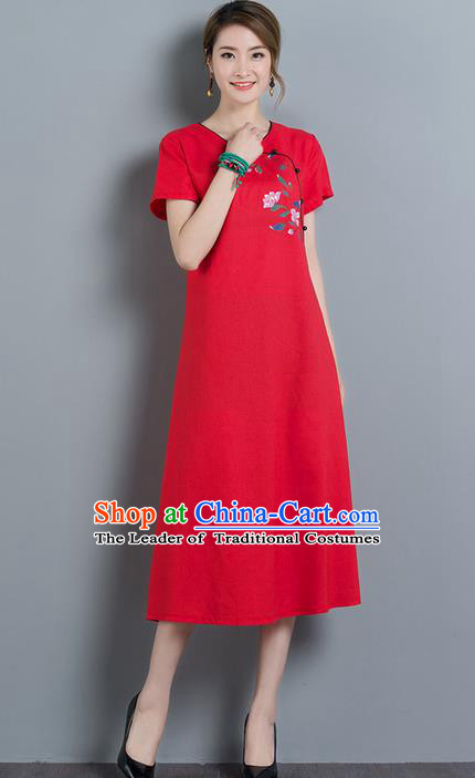 Traditional Ancient Chinese National Costume, Elegant Hanfu Qipao Embroidered Red Dress, China Tang Suit Cheongsam Upper Outer Garment Elegant Dress Clothing for Women