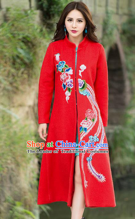Traditional Ancient Chinese National Costume, Elegant Hanfu Stand Collar Embroidered Red Coat Robes, China Tang Suit Plated Buttons Cape, Upper Outer Garment Dust Coat Clothing for Women