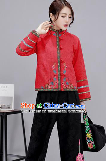 Traditional Ancient Chinese National Costume, Elegant Hanfu Stand Collar Embroidered Red Short Coat, China Tang Suit Plated Buttons Jacket, Upper Outer Garment Coat Clothing for Women