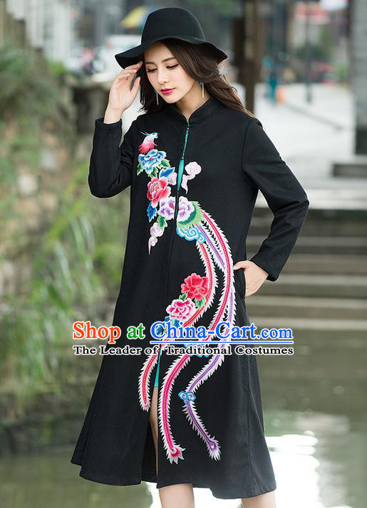 Traditional Ancient Chinese National Costume, Elegant Hanfu Stand Collar Embroidered Black Coat Robes, China Tang Suit Plated Buttons Cape, Upper Outer Garment Dust Coat Clothing for Women