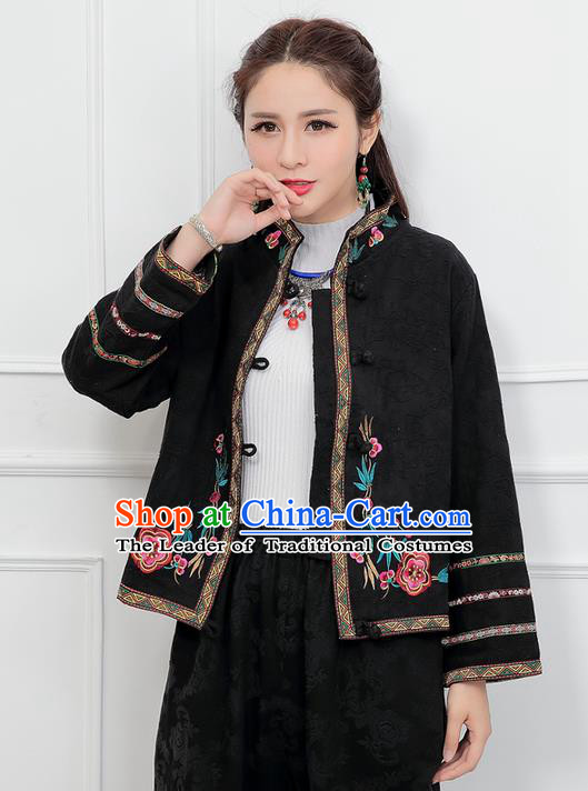 Traditional Ancient Chinese National Costume, Elegant Hanfu Stand Collar Embroidered Black Short Coat, China Tang Suit Plated Buttons Jacket, Upper Outer Garment Coat Clothing for Women