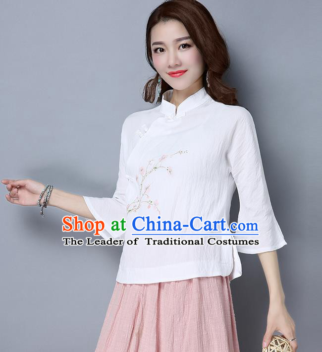 Traditional Chinese National Costume, Elegant Hanfu Embroidered Flowers Mandarin Sleeve White T-Shirt, China Tang Suit Republic of China Plated Buttons Chirpaur Blouse Cheong-sam Upper Outer Garment Qipao Shirts Clothing for Women
