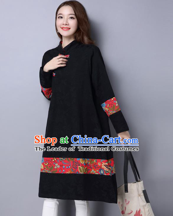 Traditional Ancient Chinese National Costume, Elegant Hanfu Mandarin Qipao Linen Black Dress, China Tang Suit Chirpaur Republic of China Cheongsam Upper Outer Garment Elegant Dress Clothing for Women