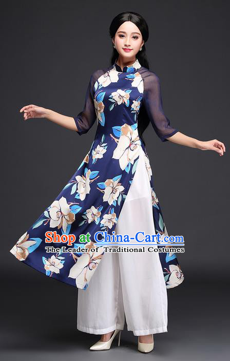 Traditional Ancient Chinese National Costume, Elegant Hanfu Mandarin Qipao Printing Blue Ao Dai Dress, China Tang Suit Chirpaur Republic of China Cheongsam Upper Outer Garment Elegant Dress Clothing for Women