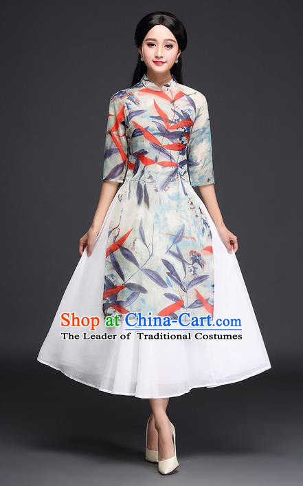 Traditional Ancient Chinese National Costume, Elegant Hanfu Mandarin Qipao Printing Ao Dai Dress, China Tang Suit Chirpaur Republic of China Cheongsam Upper Outer Garment Elegant Dress Clothing for Women