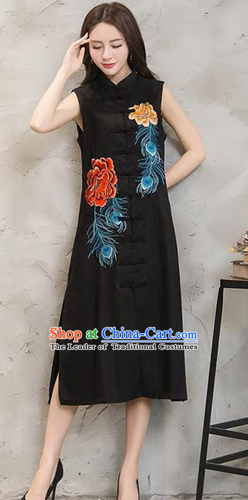 Traditional Ancient Chinese National Costume, Elegant Hanfu Mandarin Qipao Embroidered Front Opening Black Dress, China Tang Suit Plated Buttons Chirpaur Republic of China Cheongsam Upper Outer Garment Elegant Dress Clothing for Women