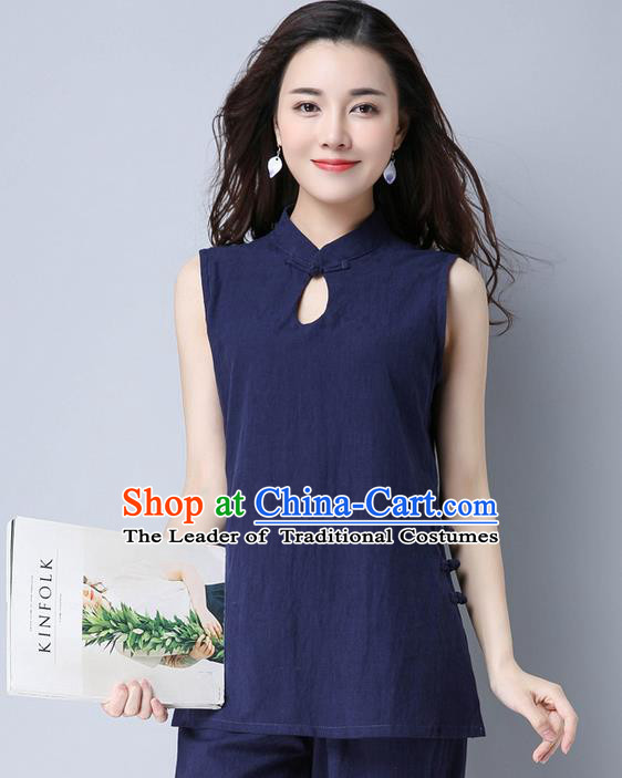 Traditional Chinese National Costume, Elegant Hanfu Linen Navy Vests, China Tang Suit Cheongsam Upper Outer Garment Elegant Waistcoat Clothing for Women