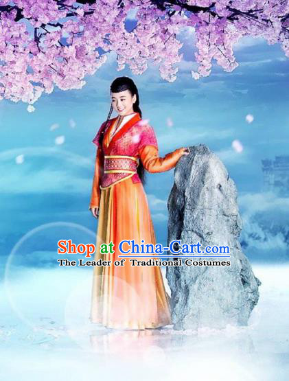 Traditional Ancient Chinese Chivalrous Swordswoman Costume, Chinese Ming Dynasty Palace Woman Dress, Cosplay Chinese Television Drama Flying Daggers Princess Hanfu Clothing for Women