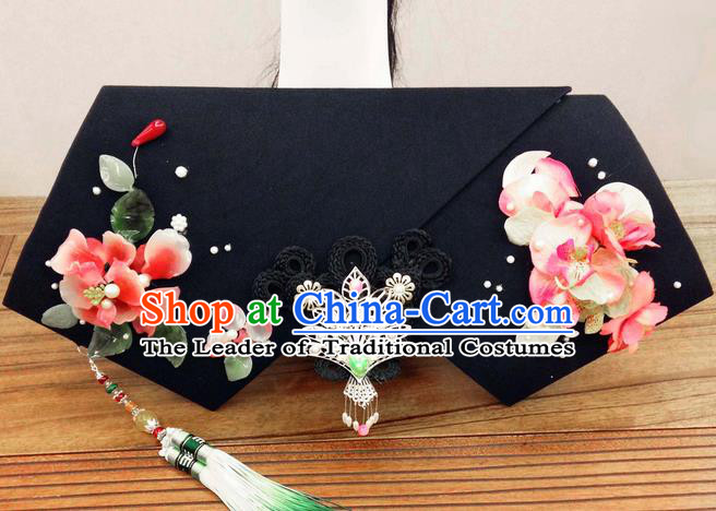 Traditional Ancient Chinese Imperial Consort Hair Jewellery Accessories, Chinese Qing Dynasty Manchu Palace Lady Flowers Headwear Zhen Huan Big La fin Tassel Headpiece, Chinese Mandarin Imperial Concubine Flag Head Hat Decoration Accessories for Women
