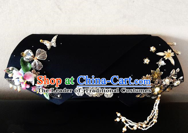 Traditional Ancient Chinese Imperial Consort Hair Jewellery Accessories, Chinese Qing Dynasty Manchu Palace Lady Headwear Zhen Huan Big La fin Beads Tassel Headpiece, Chinese Mandarin Imperial Concubine Flag Head Hat Decoration Accessories for Women