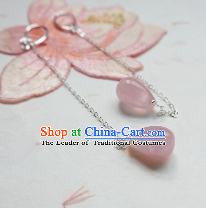 Traditional Handmade Chinese Ancient Classical Accessories, Chinese Eardrop Long Tassel Pink Jade Jewellery Earrings Hanfu Earbob for Women
