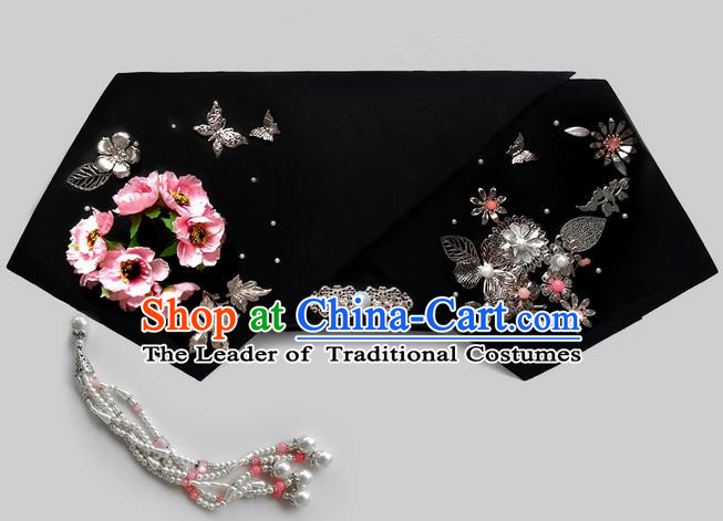 Traditional Ancient Chinese Hair Jewellery Accessories, Chinese Qing Dynasty Manchu Palace Lady Headwear Zhen Huan Big La fin Flowers Beads Tassel Headpiece, Chinese Mandarin Imperial Concubine Flag Head Hat Decoration Accessories for Women