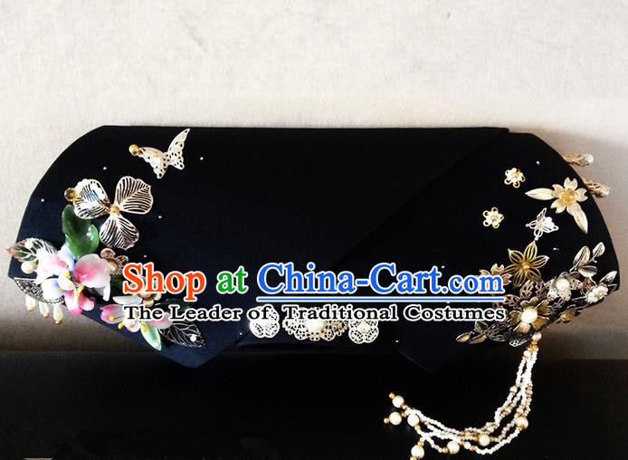 Traditional Ancient Chinese Imperial Consort Hair Jewellery Accessories, Chinese Qing Dynasty Manchu Palace Lady Pearl Headwear Zhen Huan Big La fin Headpiece, Chinese Mandarin Imperial Concubine Flag Head Hat Decoration Accessories for Women