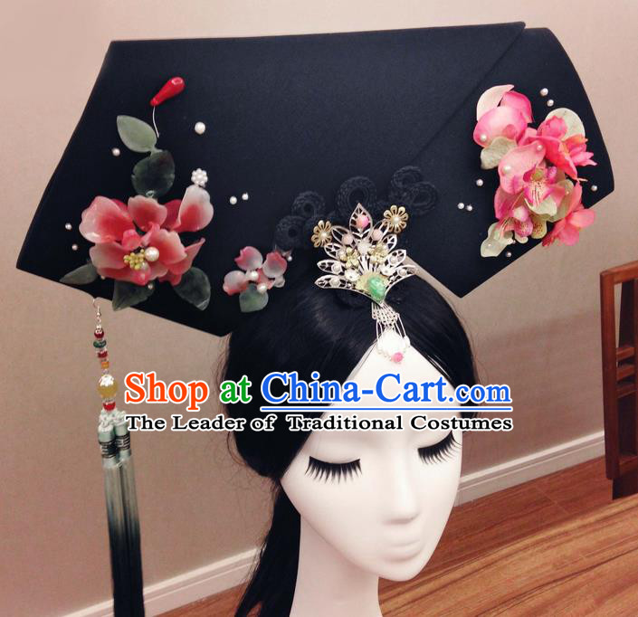 Traditional Ancient Chinese Imperial Consort Hair Jewellery Accessories, Chinese Qing Dynasty Manchu Palace Lady Wig and Pearl Headwear Zhen Huan Big La fin Headpiece, Chinese Mandarin Imperial Concubine Flag Head Hat Decoration Accessories for Women