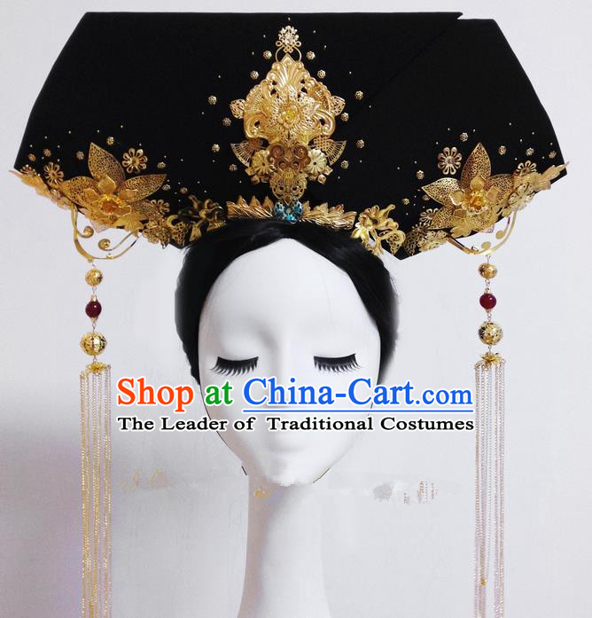 Traditional Ancient Chinese Imperial Consort Hair Jewellery Accessories, Chinese Qing Dynasty Manchu Palace Lady Headwear Zhen Huan Tassel Big La fin Headpiece, Chinese Mandarin Imperial Concubine Flag Head Hat Decoration Accessories for Women
