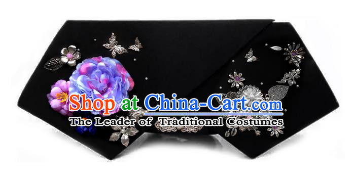 Traditional Ancient Chinese Hair Jewellery Accessories, Chinese Qing Dynasty Manchu Palace Lady Headwear Zhen Huan Big La fin Flowers Beads Pendant Headpiece, Chinese Mandarin Imperial Concubine Flag Head Hat Decoration Accessories for Women