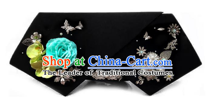 Traditional Ancient Chinese Hair Jewellery Accessories, Chinese Qing Dynasty Manchu Palace Lady Headwear Zhen Huan Big La fin Blue Flowers Headpiece, Chinese Mandarin Imperial Concubine Flag Head Hat Decoration Accessories for Women