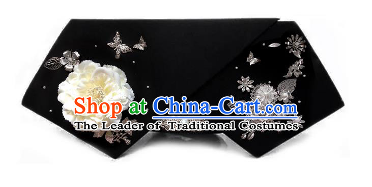Traditional Ancient Chinese Hair Jewellery Accessories, Chinese Qing Dynasty Manchu Palace Lady Headwear Zhen Huan Big La fin White Peony Flowers Headpiece, Chinese Mandarin Imperial Concubine Flag Head Hat Decoration Accessories for Women