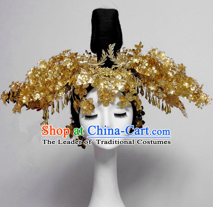 Traditional Handmade Chinese Ancient Classical Hair Accessories Bride Wedding Barrettes Phoenix Coronet Complete Set, Princess Wedding Hair Sticks Hair Jewellery, Hair Fascinators Hairpins for Women