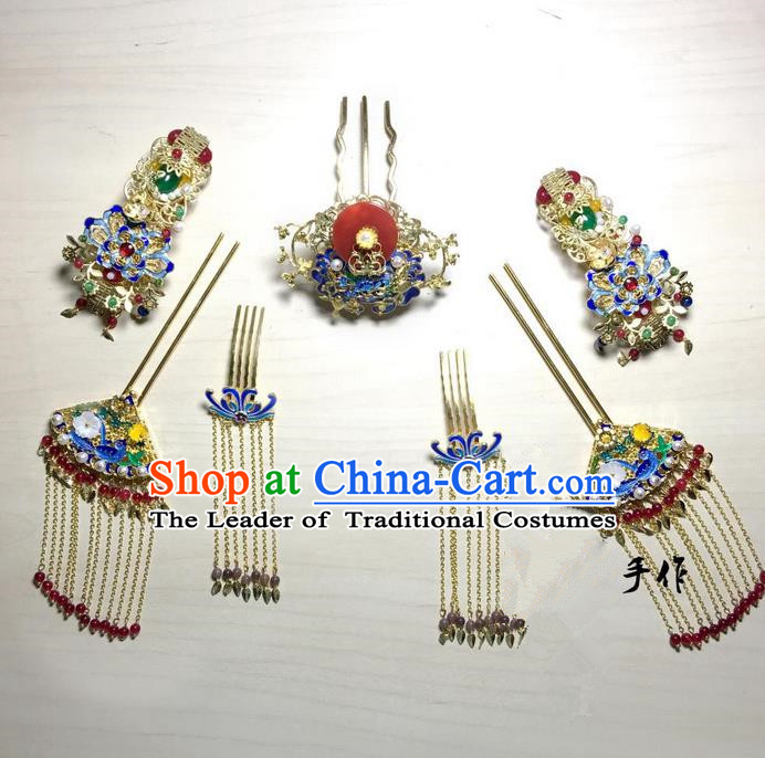Traditional Handmade Chinese Ancient Classical Hair Accessories Bride Wedding Barrettes Hairpin Complete Set, Hanfu Princess Wedding Hair Sticks Hair Jewellery, Hair Fascinators Hairpins for Women