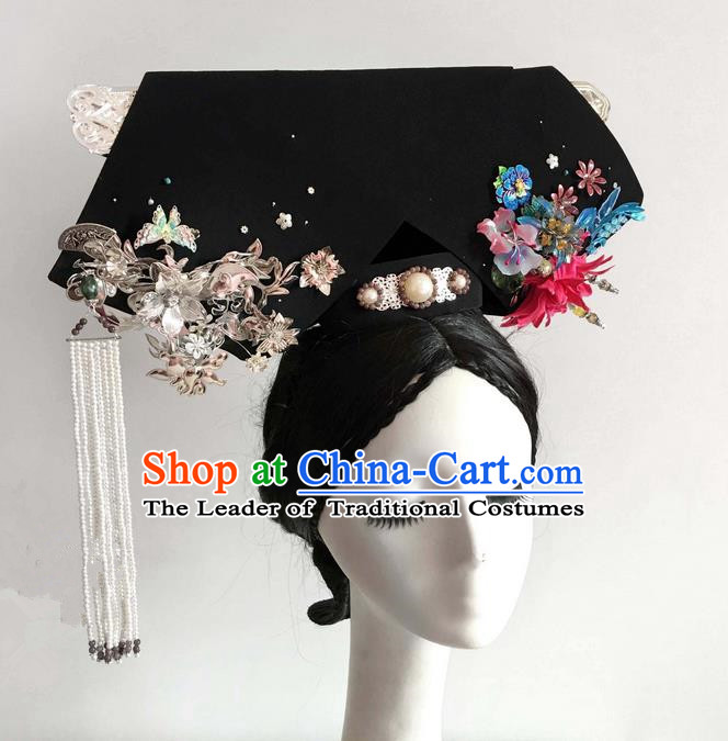 Traditional Ancient Chinese Imperial Consort Hair Jewellery Accessories, Chinese Handmade Qing Dynasty Manchu Palace Lady Headwear Zhen Huan Big La fin Headpiece, Chinese Mandarin Imperial Concubine Flag Head Hat Decoration Accessories for Women