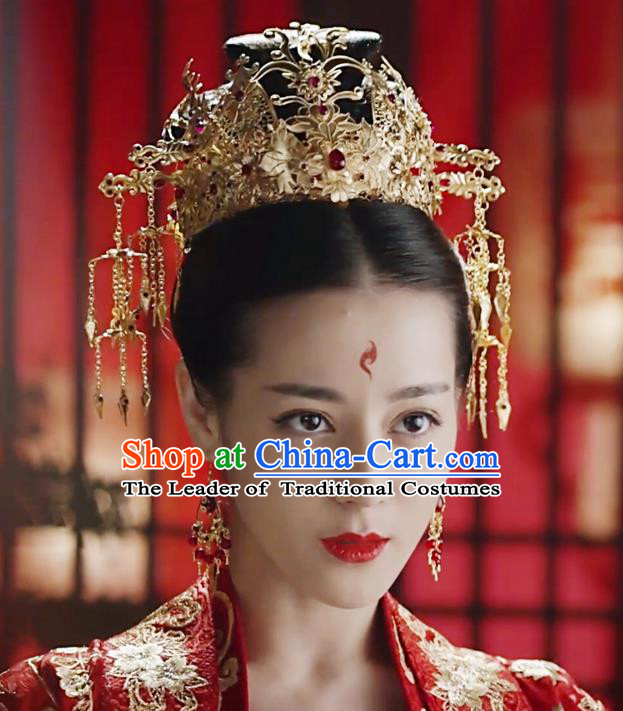 Traditional Handmade Chinese Ancient Classical Hair Accessories Song Dynasty Bride Wedding Barrettes Phoenix Coronet Complete Set, Hair Sticks Hair Jewellery, Hair Fascinators Hairpins for Women
