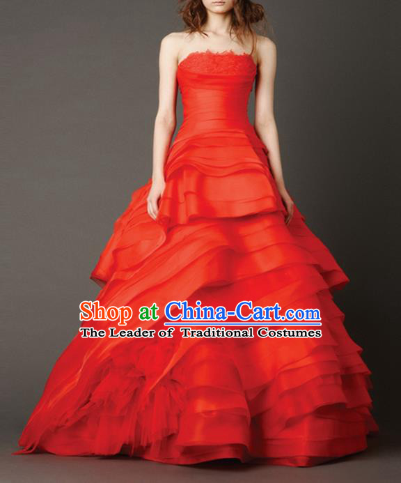 Traditional Chinese Wedding Costume Evening Dress, Chinese Style Wedding Red Dress, Bride Toast Bubble Dress for Women