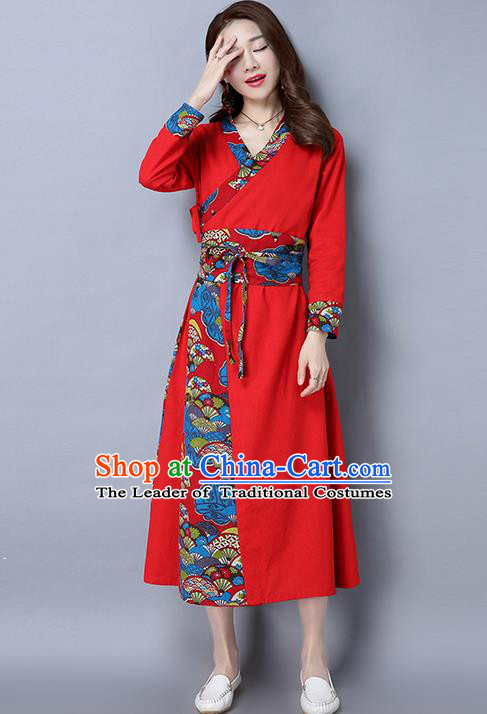 Traditional Ancient Chinese National Costume, Elegant Hanfu Mandarin Qipao Joint Red Dress, China Tang Suit Cheongsam Garment Elegant Dress Clothing for Women