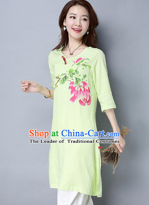 Traditional Ancient Chinese National Costume, Elegant Hanfu Mandarin Qipao Linen Hand Painting Green Dress, China Tang Suit Cheongsam Garment Elegant Dress Clothing for Women