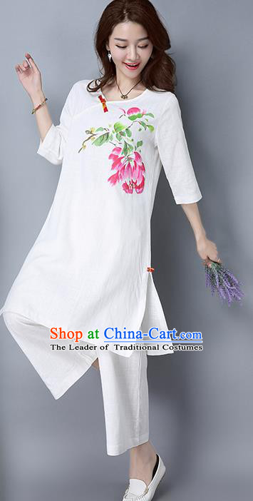 Traditional Ancient Chinese National Costume, Elegant Hanfu Mandarin Qipao Linen Hand Painting White Dress, China Tang Suit Cheongsam Garment Elegant Dress Clothing for Women