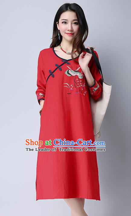 Traditional Ancient Chinese National Costume, Elegant Hanfu Embroidered Slant Opening Red Dress, China Tang Suit Plated Buttons Cheongsam Garment Elegant Dress Clothing for Women