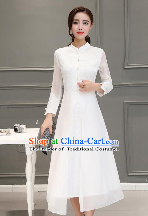 Traditional Ancient Chinese National Costume, Elegant Hanfu Embroidered Silk Front Opening White Dress, China Tang Suit Stand Collar Cheongsam Garment Elegant Dress Clothing for Women
