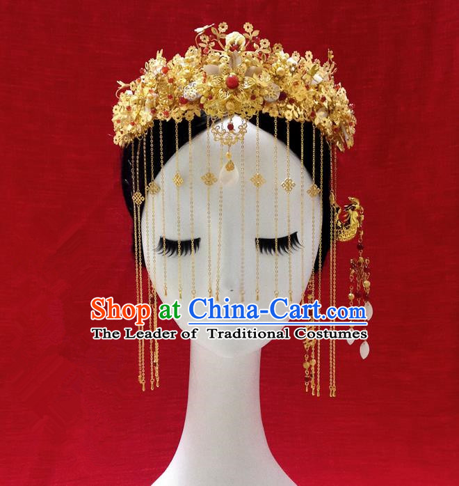 Traditional Handmade Chinese Ancient Classical Hair Accessories Bride Wedding Barrettes Phoenix Coronet Complete Set, Xiuhe Suit Hair Sticks Hair Jewellery, Hair Fascinators Hairpins for Women