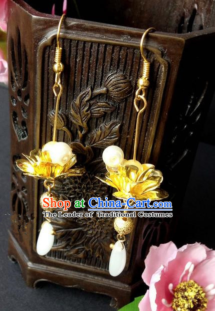 Traditional Handmade Chinese Ancient Classical Accessories, Chinese Eardrop Long Pearl Tassel Jewellery Earrings Hanfu Lotus Earbob for Women