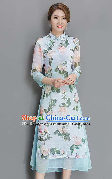 Traditional Chinese National Costume, Elegant Hanfu Mandarin Qipao Printing White Dress, China Tang Suit Stand Collar Cheongsam Upper Outer Garment Elegant Dress Clothing for Women