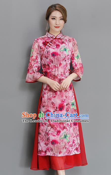 Traditional Chinese National Costume, Elegant Hanfu Mandarin Qipao Printing Red Dress, China Tang Suit Stand Collar Cheongsam Upper Outer Garment Elegant Dress Clothing for Women