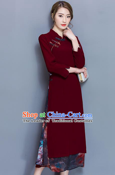 Traditional Ancient Chinese National Costume, Elegant Hanfu Mandarin Qipao Printing Red Plated Buttons Dress, China Tang Suit Stand Collar Cheongsam Upper Outer Garment Elegant Dress Clothing for Women