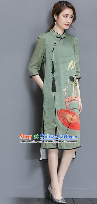 Traditional Ancient Chinese National Costume, Elegant Hanfu Mandarin Qipao Printing Stand Collar Green Dress, China Tang Suit Cheongsam Upper Outer Garment Elegant Dress Clothing for Women