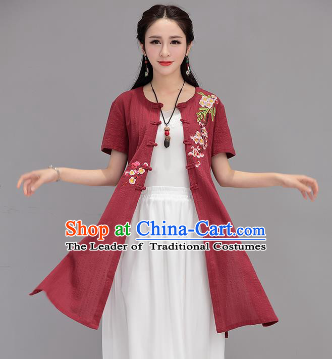Traditional Ancient Chinese National Costume, Elegant Hanfu Embroidered Cardigan Coat, China Tang Suit Plated Buttons Cape, Upper Outer Garment Dust Coat Cloak Clothing for Women