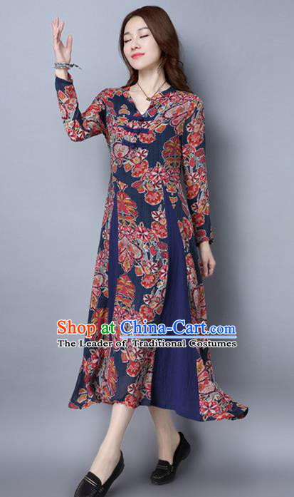 Traditional Ancient Chinese National Costume, Elegant Hanfu Qipao Printing Northeast Cloth Blue Plated Buttons Dress, China Tang Suit Cheongsam Upper Outer Garment Elegant Dress Clothing for Women