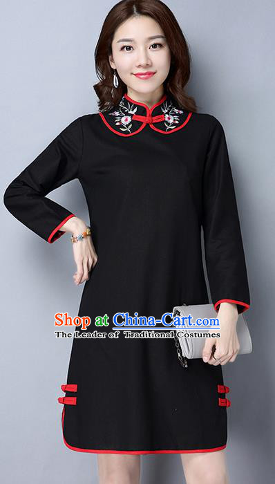 Traditional Ancient Chinese National Costume, Elegant Hanfu Mandarin Qipao Linen Stand Collar Black Dress, China Tang Suit Short Cheongsam Upper Outer Garment Elegant Dress Clothing for Women