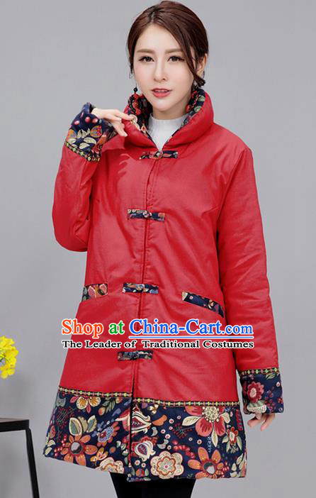 Traditional Ancient Chinese National Costume, Elegant Hanfu Stand Collar Red Cotton Wadded Coat, China Tang Suit Plated Buttons Cape, Upper Outer Garment Dust Coat Clothing for Women