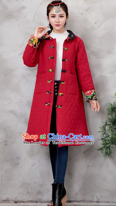 Traditional Ancient Chinese National Costume, Elegant Hanfu Turn-down Collar Red Cotton Wadded Coat, China Tang Suit Plated Buttons Cape, Upper Outer Garment Dust Coat Clothing for Women