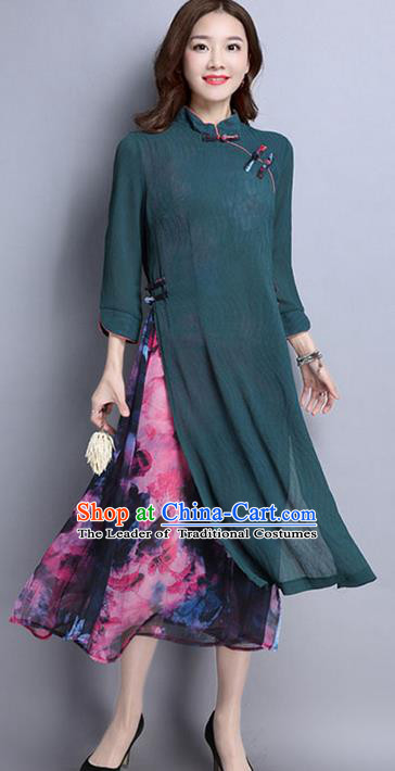 Traditional Chinese National Costume, Elegant Hanfu Mandarin Qipao Printing Slant Opening Green Dress, China Tang Suit Plated Buttons Cheongsam Upper Outer Garment Elegant Dress Clothing for Women